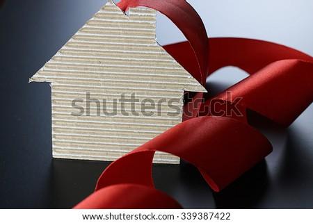 Real Estate ribbon house - stock photo