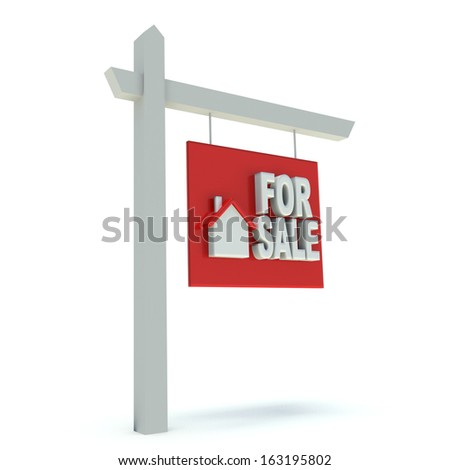 Real Estate Sign. Advertising house for sale. 3d render illustration. - stock photo