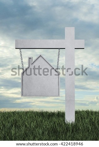 Real estate sign in the shape of a house with a sky background and room for text or copy space - 3D Rendering