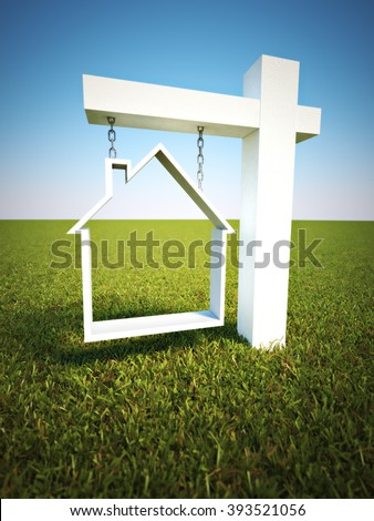 Real estate sign with sky background. - stock photo