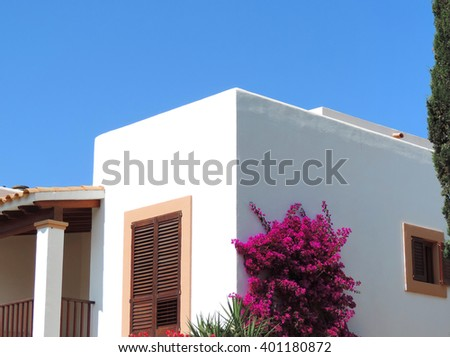Real Estate, spainish house with blossoming plant - stock photo