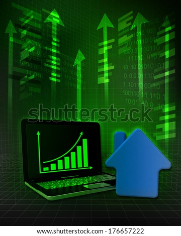 real estate stock with positive online results in business illustration - stock photo