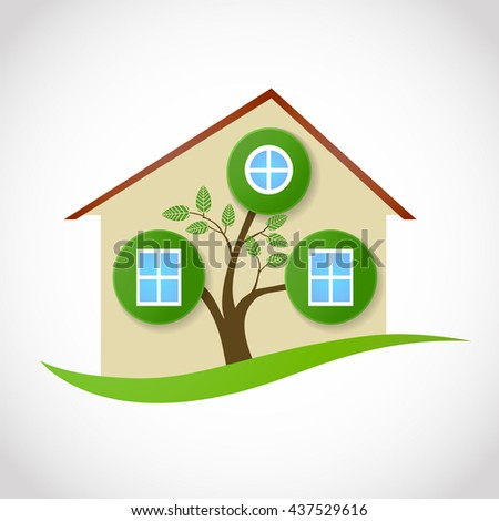 real estate symbol of ecological house with tree and leaves as windows. raster conceptual illustration - stock photo