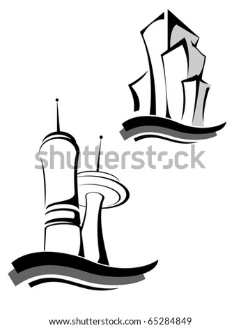 Real estate symbols - also as emblem or logo template. Vector version also available in gallery - stock photo