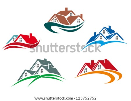 Real estate symbols - roofs of houses and buildings, such a logo template. Vector version also available in gallery - stock photo