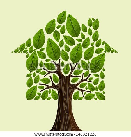 Real estate tree house green leaves concept illustration. - stock photo