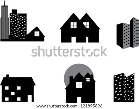 real estate vector icons - stock photo