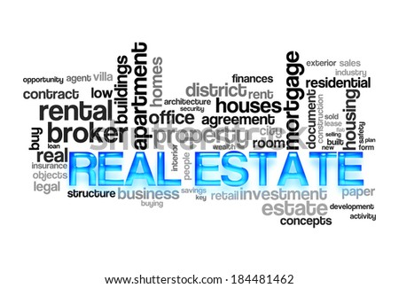 Real estate word cloud concept image - stock photo