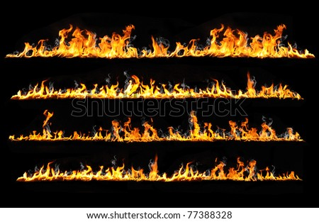 real fire lines isolated on black - stock photo