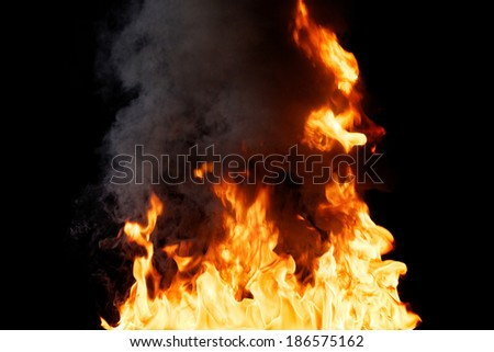 Real Fire Texture With Billowing Smoke - stock photo
