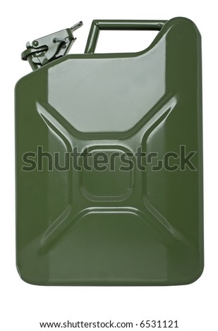 Real fuel container isolated on white
