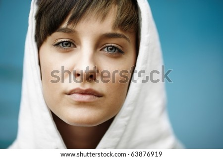 real girl , natural soft light, selective focus - stock photo