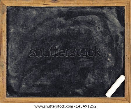 Real grunge blank blackboard copyspace with wood frame - stock photo
