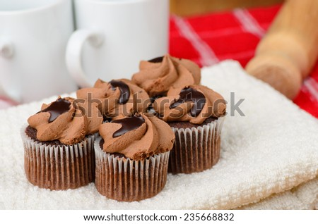 Real home made chocolate buns, home baking not perfect! - stock photo