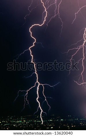 Real lightning bolt strike in a metropolitan area