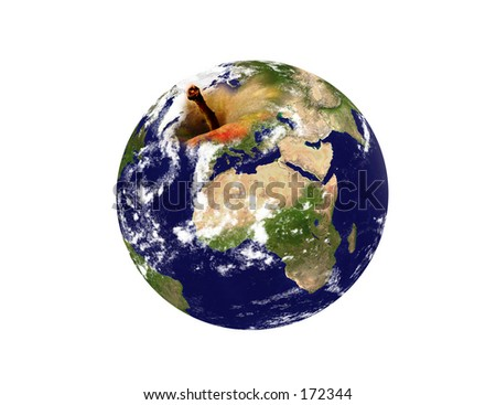 """Real looking Earth planet, """"apple"""" mode. Isolated. Computer generated. - stock photo"""