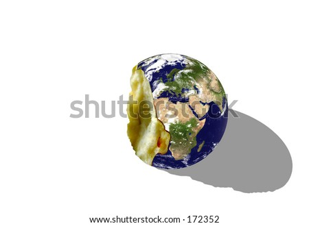 """Real looking Earth planet, """"bitten apple"""" mode. Computer generated. - stock photo"""
