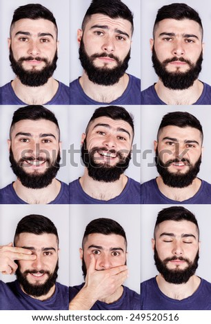 Real man multiple expressions - stock photo