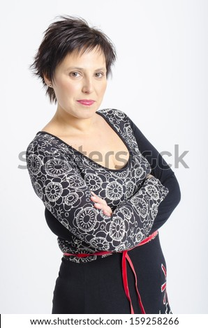 real middle aged pretty woman - stock photo