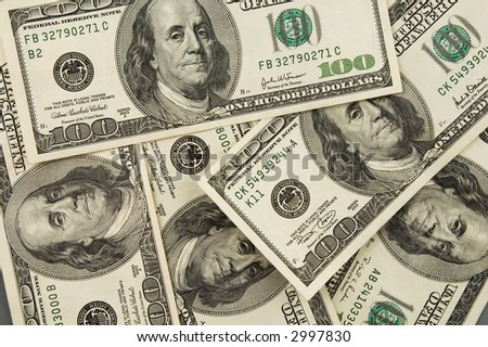 Real one hundred dollars banknote background texture - stock photo