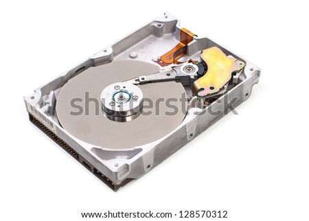 real open hard drive isolated on white background - stock photo