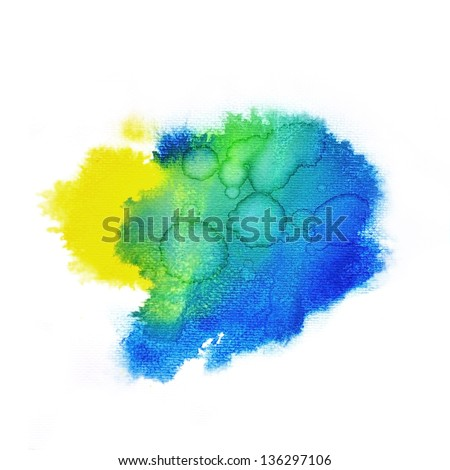 Real painting colorful water color drop for background - stock photo