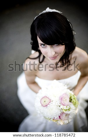 Real person wedding bride with bouquet - stock photo