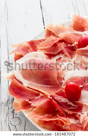 Real pork ham from Italy Bologna - stock photo