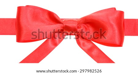real red satin bow with horizontal cut ends on ribbon close up isolated on white background