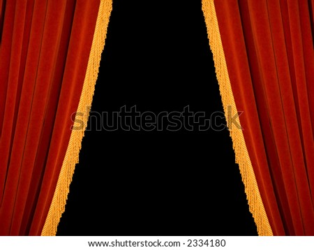 Real red theater curtains, perfectly isolated on black - stock photo