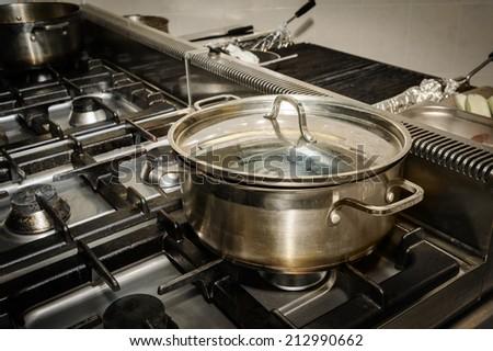 real restaurant kitchen - stock photo