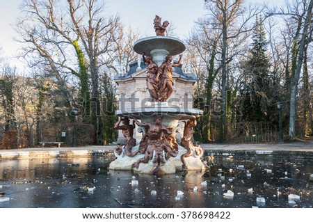 REAL SITIO DE SAN ILDEFONSO - JANUARY 4, 2015: Fountain in the gardens of the Royal Palace of La Granja de San Ildefonso, Segovia, Spain, on January 4, 2015. - stock photo