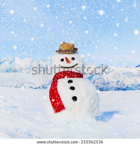 Real snowman outdoors in white scenery. - stock photo