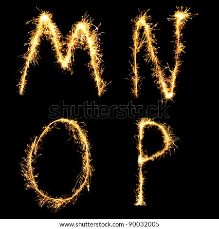 Real Sparkler Alphabet. See other letters in my portfolio. - stock photo