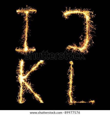 Real Sparkler Alphabet. See other letters in my portfolio. I J K L - stock photo