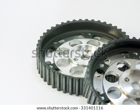 real stainless and aluminum steel gear isolated over white background