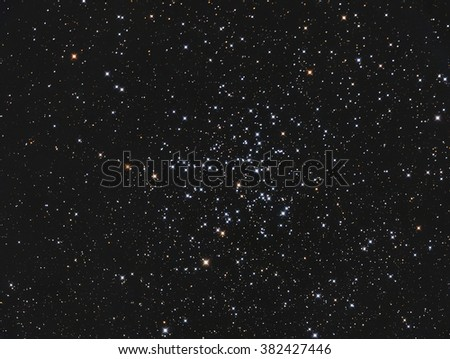 Real star cluster Messier38 in Auriga taken with CCD camera and telescope - stock photo