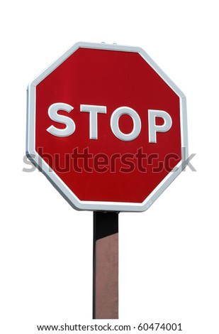 Real stop sign with details isolated on white background - stock photo