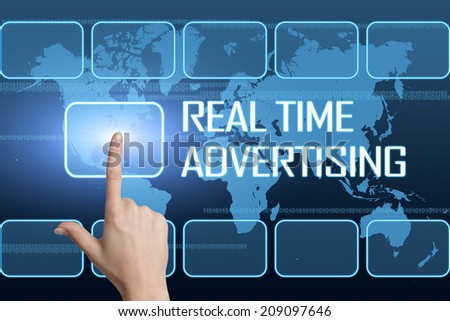 Real Time Advertising concept with interface and world map on blue background - stock photo