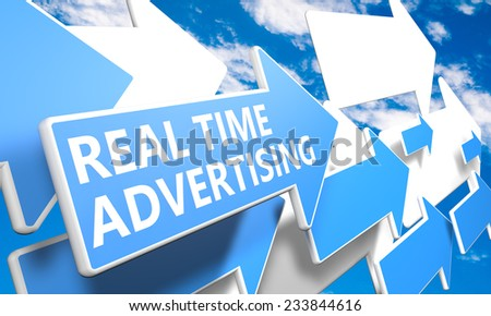 Real Time Advertising 3d render concept with blue and white arrows flying in a blue sky with clouds - stock photo