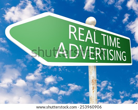 Real Time Advertising - street sign illustration in front of blue sky with clouds.