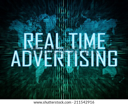 Real Time Advertising text concept on green digital world map background  - stock photo