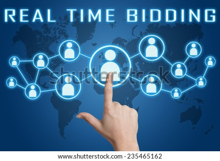 Real Time Bidding concept with hand pressing social icons on blue world map background. - stock photo