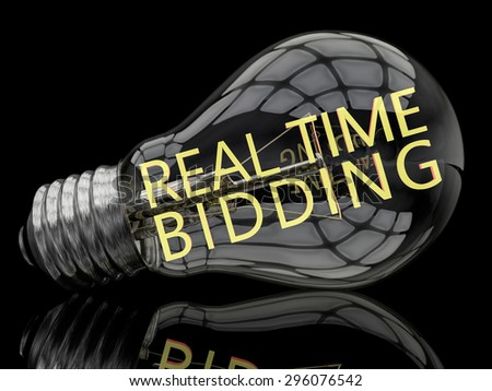 Real Time Bidding - lightbulb on black background with text in it. 3d render illustration. - stock photo
