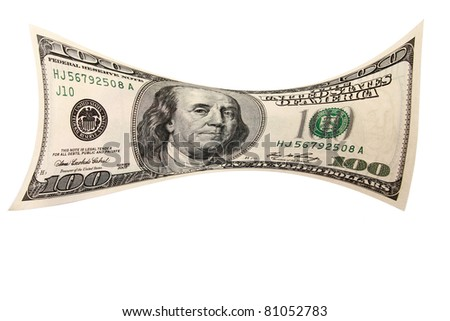 Real us currency folded, streched and photographed with a 14mm fisheye lens.  Isolated on white with room for your text. the perfect image for all your cash photo needs