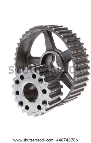 real used stainless steel car gears isolated over white background