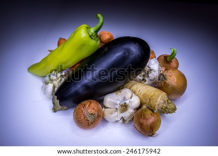 Real vegetables painted with light - stock photo