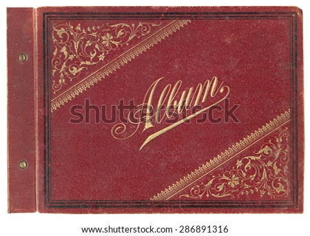 Real vintage album cover 1901 - stock photo