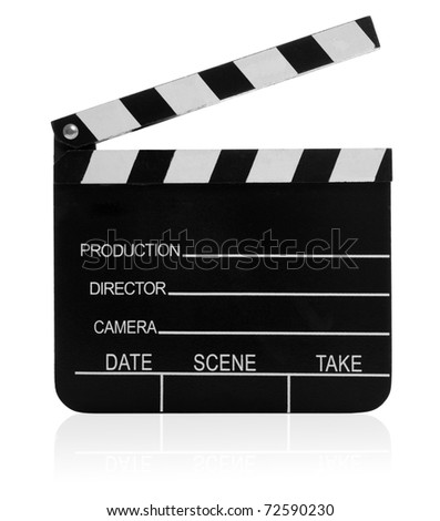 Real Vintage Wooden Film Slate isolated isolated on white background with small reflection at the bottom.