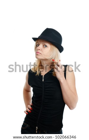 Real woman in black hat isolated on white background